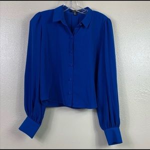 Forever 21 blue button up cropped blouse